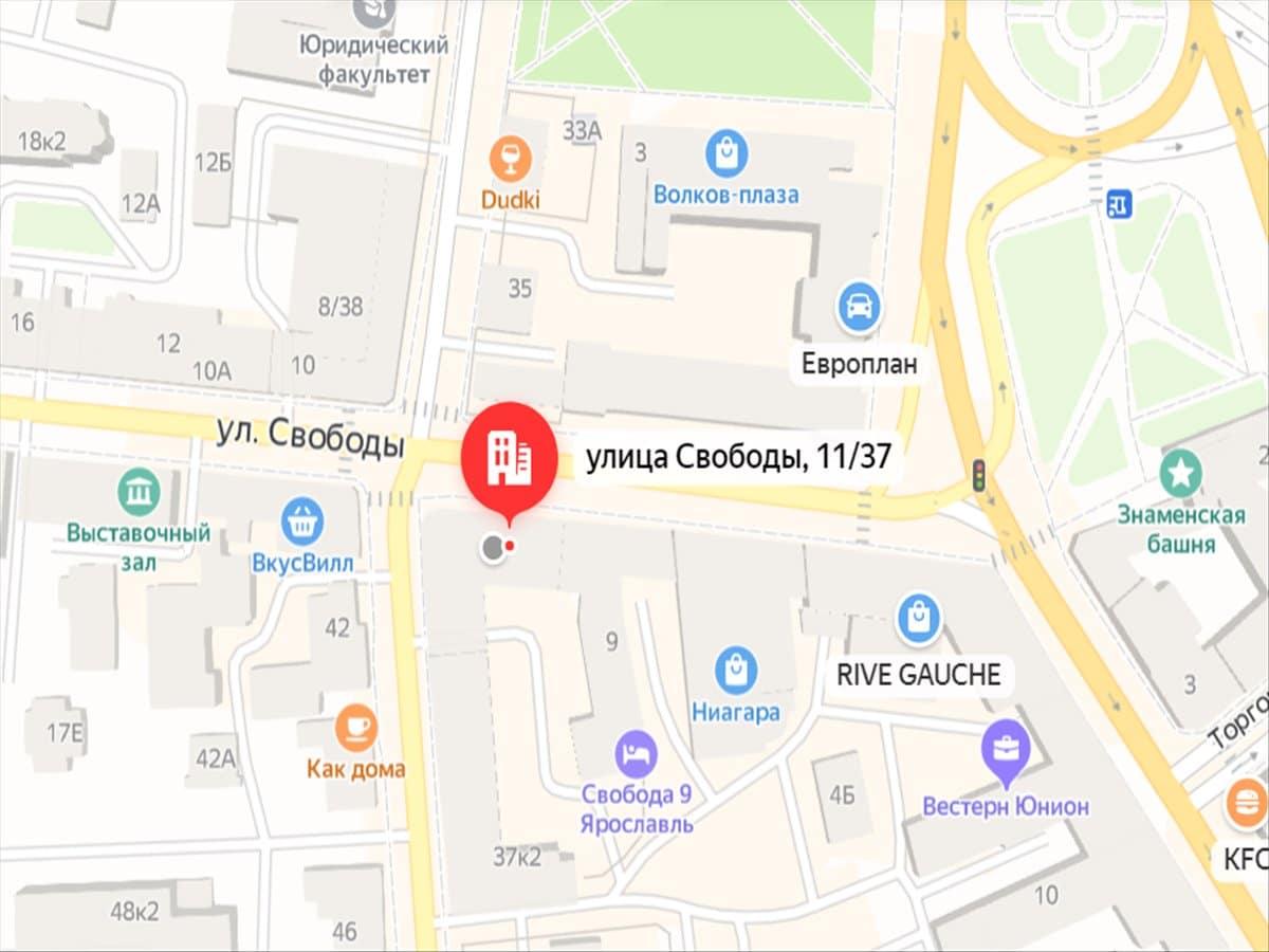 Массаж в Ярославле — Карта местонахождения